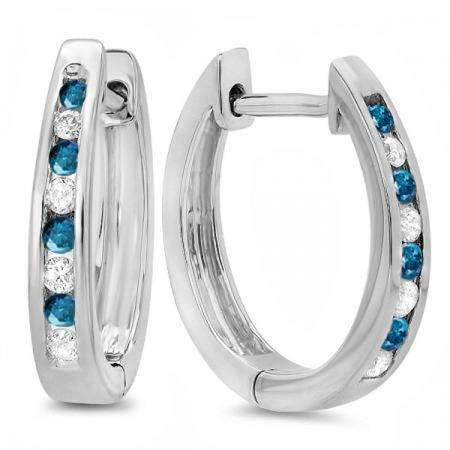 0.20 Carat (ctw) 14K White Gold Round White And Blue Diamond Ladies Hoop Earrings 1/5 CT