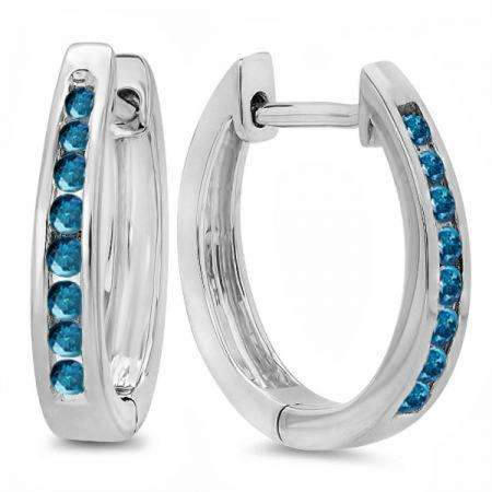 0.20 Carat (ctw) 18K White Gold Round Blue Diamond Ladies Hoop Earrings 1/5 CT
