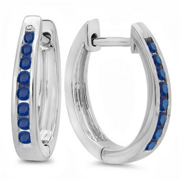0.20 Carat (ctw) 18K White Gold Round Blue Sapphire Ladies Hoop Earrings 1/5 CT