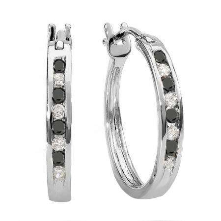 0.20 Carat (ctw) 18K White Gold Round White And Black Diamond Ladies Fine Hoop Earrings 1/5 CT