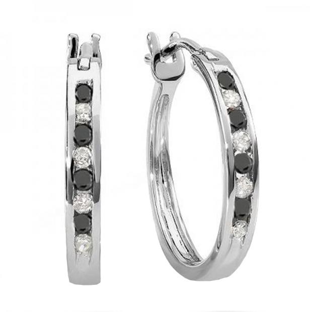 0.20 Carat (ctw) 10K White Gold Round White And Black Diamond Ladies Fine Hoop Earrings 1/5 CT
