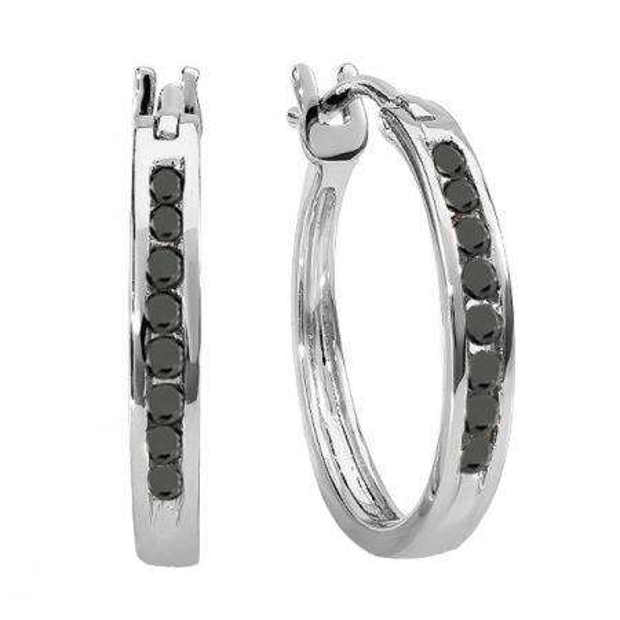 0.20 Carat (ctw) 14K White Gold Round Black Diamond Ladies Fine Hoop Earrings 1/5 CT