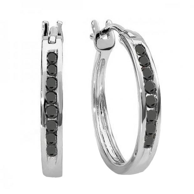 0.20 Carat (ctw) 10K White Gold Round Black Diamond Ladies Fine Hoop Earrings 1/5 CT