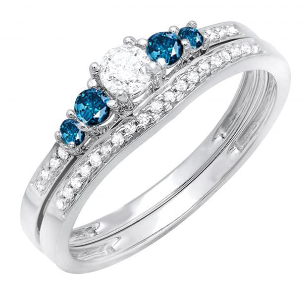 0.45 Carat (ctw) 18k White Gold Round Blue And White Diamond Ladies 5 Stone Bridal Engagement Ring Matching Band Set