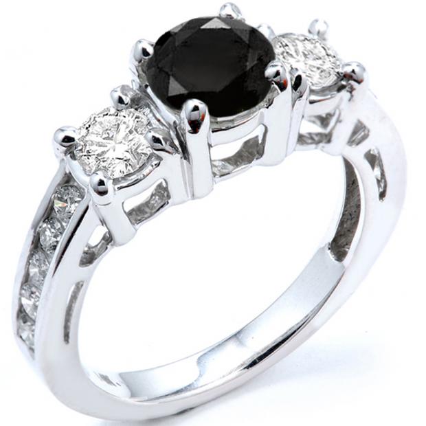 2.55 Carat (ctw) 10k White Gold Round Black And White Diamond Ladies Bridal Engagement Ring