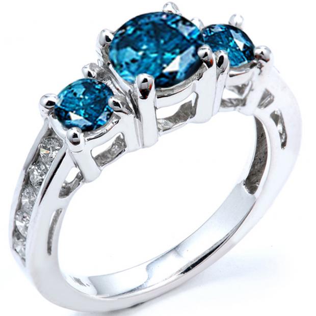 1.85 Carat (ctw) 14k White Gold Round Blue And White Diamond Ladies Bridal Engagement Ring