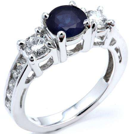 2.55 Carat (ctw) 10k White Gold Round Blue Sapphire And White Diamond Ladies Bridal Engagement Ring