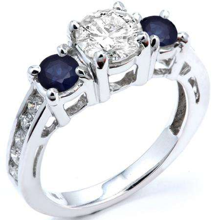 2.55 Carat (ctw) 14k White Gold Round Blue Sapphire And White Diamond Ladies Bridal Engagement Ring