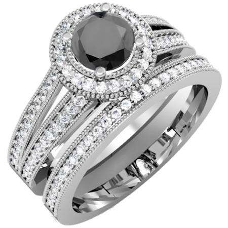 1.25 Carat (ctw) 10k White Gold Round White And Black Diamond Ladies Split Shank Halo Style Bridal Engagement Ring Set With Matching Band 1 1/4 CT