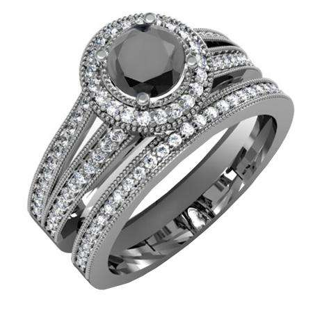 1.25 Carat (ctw) Black Rhodium Plated 18k White Gold Round White And Black Diamond Ladies Split Shank Halo Style Bridal Engagement Ring Set With Matching Band 1 1/4 CT