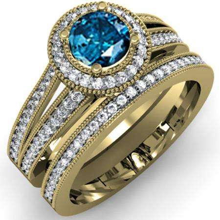 1.25 Carat (ctw) 14k Yellow Gold Round White And Blue Diamond Ladies Split Shank Halo Style Bridal Engagement Ring Set With Matching Band 1 1/4 CT