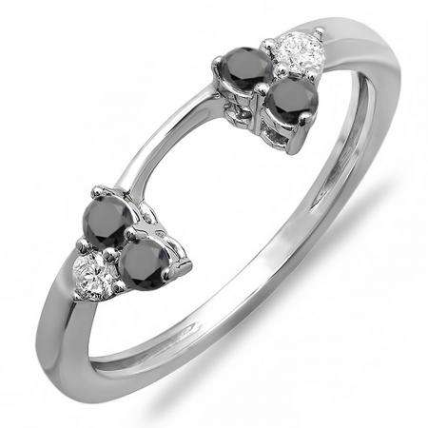 0.30 Carat (ctw) 18K White Gold Round White And Black Diamond Ladies Anniversary Wedding Ring Matching Guard Band 1/3 CT