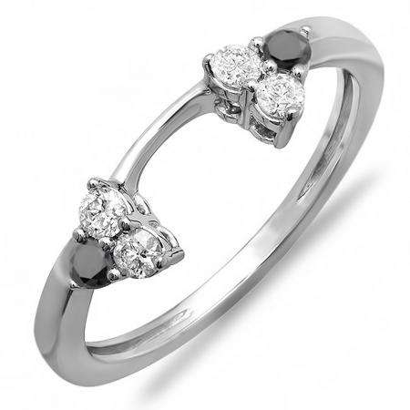 0.30 Carat (ctw) 18K White Gold Round White And Black Diamond Ladies Anniversary Wedding Ring Matching Guard Band 1/3 CT