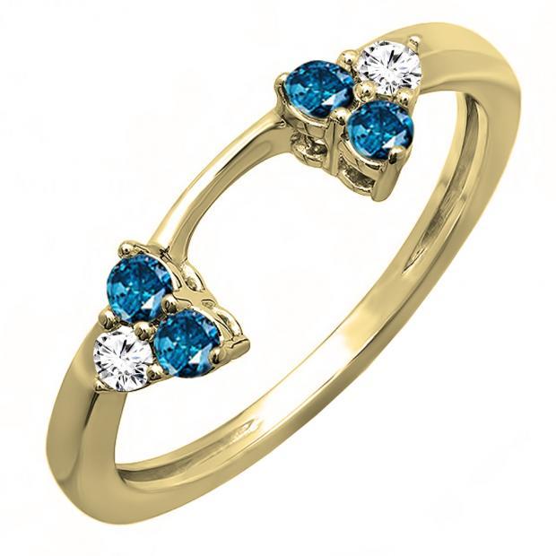 0.30 Carat (ctw) 10K Yellow Gold Round White And Blue Diamond Ladies Anniversary Wedding Ring Matching Guard Band 1/3 CT