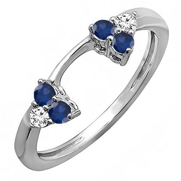 0.30 Carat (ctw) 14K White Gold Round White Diamond And Blue Sapphire Ladies Anniversary Wedding Ring Matching Guard Band 1/3 CT