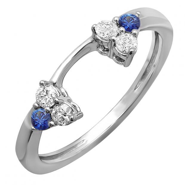 0.30 Carat (ctw) 18K White Gold Round White Diamond And Blue Sapphire Ladies Anniversary Wedding Ring Matching Guard Band 1/3 CT
