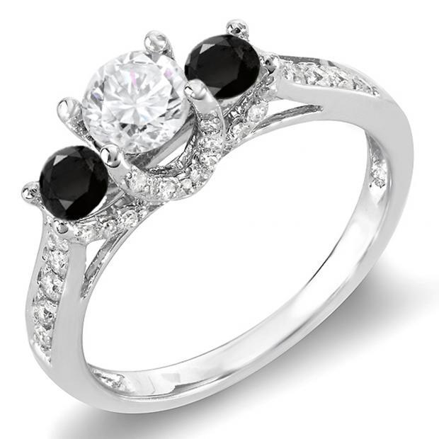 1.00 Carat (ctw) 14k White Gold Round White And Black Diamond 3 Stone Ladies Bridal Engagement Ring