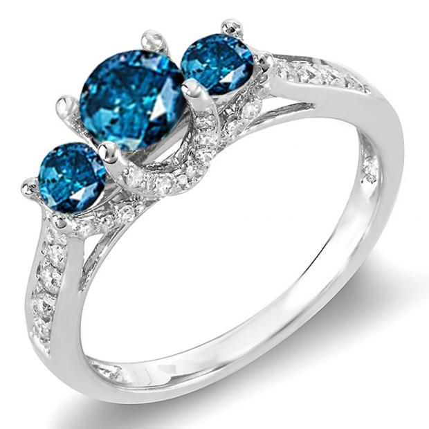 1.00 Carat (ctw) 14k White Gold Round White And Blue Diamond 3 Stone Ladies Bridal Engagement Ring