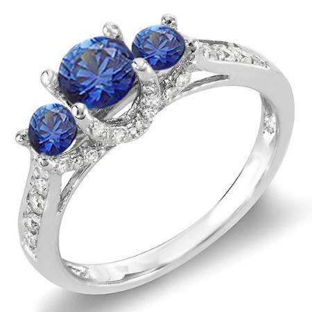 1.00 Carat (ctw) 14k White Gold Round White Diamond And Blue Sapphire 3 Stone Ladies Bridal Engagement Ring