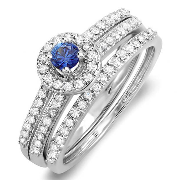 0.75 Carat (ctw) 10k White Gold Round Blue Sapphire & White Diamond Ladies Halo Bridal Engagement Ring Matching Band Set 3/4 CT
