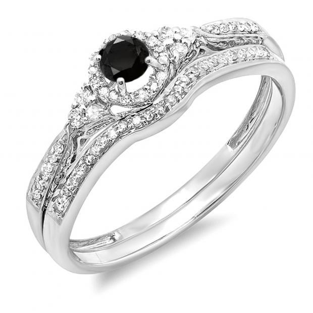0.33 Carat (ctw) 10k White Gold Round Black And White Diamond Ladies Halo Style Bridal Engagement Ring Matching Band Set 1/3 CT