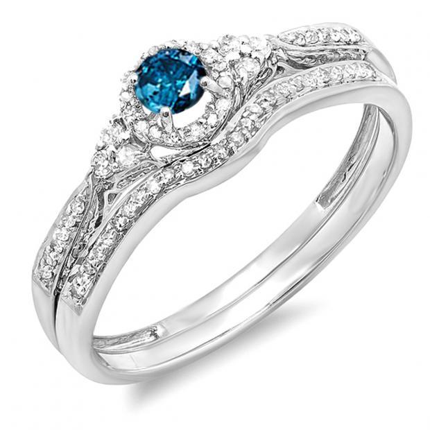 0.33 Carat (ctw) 10k White Gold Round Blue And White Diamond Ladies Halo Style Bridal Engagement Ring Matching Band Set 1/3 CT