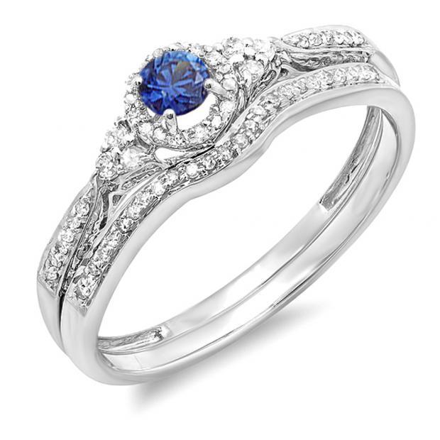 0.33 Carat (ctw) 10k White Gold Round Blue Sapphire And White Diamond Ladies Halo Style Bridal Engagement Ring Matching Band Set 1/3 CT