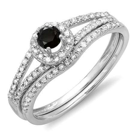 0.45 Carat (ctw) 14k White Gold Round Black And White Diamond Ladies Bridal Halo Style Engagement Ring With Wedding Band Set 1/2 CT