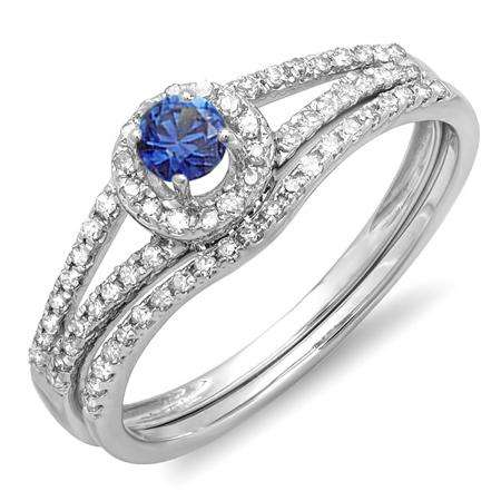 0.45 Carat (ctw) 14k White Gold Round Blue Sapphire And White Diamond Ladies Bridal Halo Style Engagement Ring With Wedding Band Set 1/2 CT