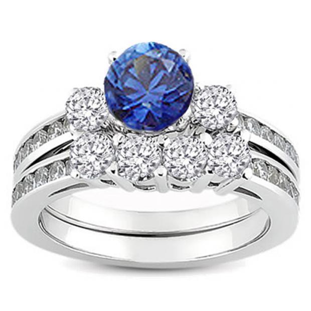 1.15 Carat (ctw) 14k White Gold Round Blue Sapphire & White Diamond Ladies Bridal Engagement Ring Matching Band Set