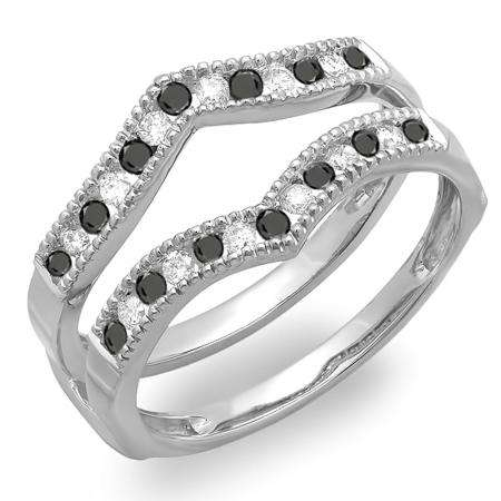 0.45 Carat (ctw) 18k White Gold Round White & Black Diamond Ladies Millgrain Anniversary Wedding Band Guard Double Ring 1/2 CT