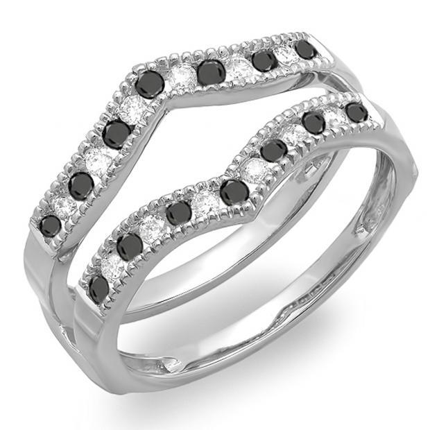 0.45 Carat (ctw) 18k White Gold Round White & Black Diamond Ladies Millgrain Anniversary Wedding Band Guard Double Ring 1/2 CT