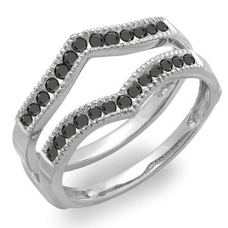 0.60 Carat (ctw) 18k White Gold Round Black Diamond Ladies Millgrain Anniversary Wedding Band Guard Double Ring