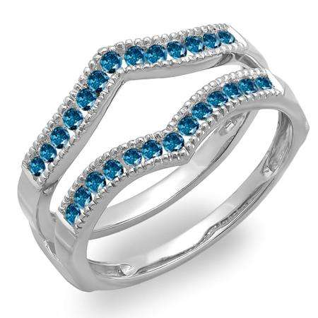 0.45 Carat (ctw) 10k White Gold Round Blue Diamond Ladies Millgrain Anniversary Wedding Band Guard Double Ring 1/2 CT