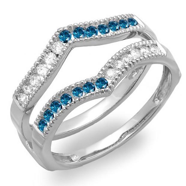 0.45 Carat (ctw) 10k White Gold Round White & Blue Diamond Ladies Millgrain Anniversary Wedding Band Guard Double Ring 1/2 CT