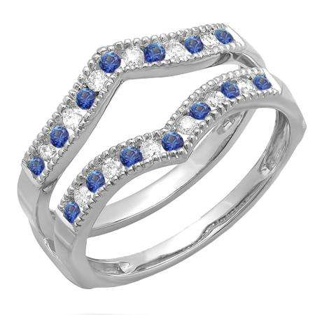 0.45 Carat (ctw) 18k White Gold Round White Diamond & Blue Sapphire Ladies Millgrain Anniversary Wedding Band Guard Double Ring 1/2 CT