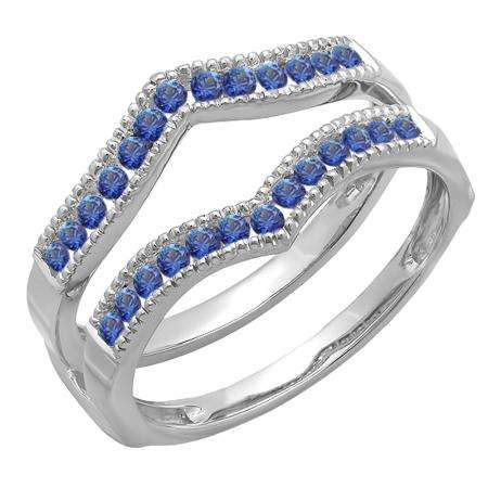 0.45 Carat (ctw) 14k White Gold Round Blue Sapphire Ladies Millgrain Anniversary Wedding Band Guard Double Ring 1/2 CT