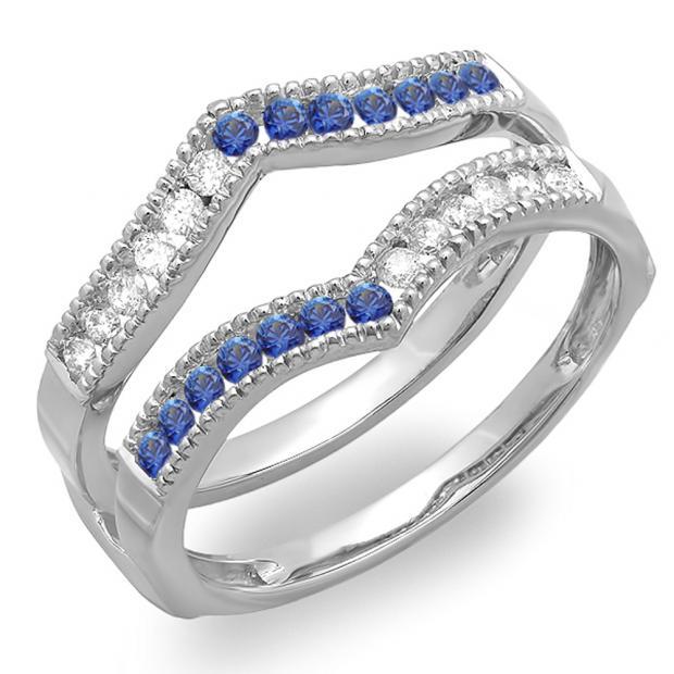 0.45 Carat (ctw) 14k White Gold Round White Diamond & Blue Sapphire Ladies Millgrain Anniversary Wedding Band Guard Double Ring 1/2 CT