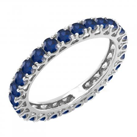 1.80 Carat (ctw) 14K White Gold Round Blue Sapphire Ladies Eternity Wedding Anniversary Stackable Ring Band 1 3/4 CT