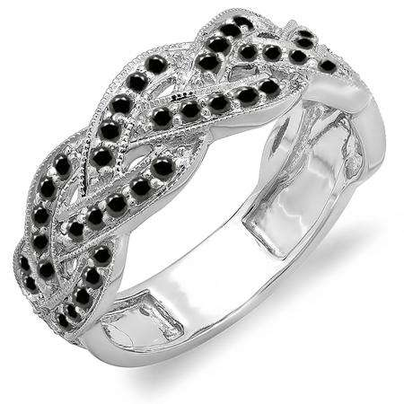 0.58 Carat (ctw) 10k White Gold Round Black Diamond Ladies Anniversary Wedding Matching Band Stackable Swirl Ring 1/2 CT