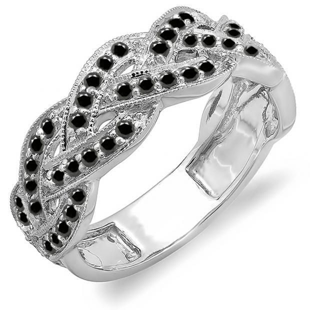 0.58 Carat (ctw) 14k White Gold Round Black Diamond Ladies Anniversary Wedding Matching Band Stackable Swirl Ring 1/2 CT