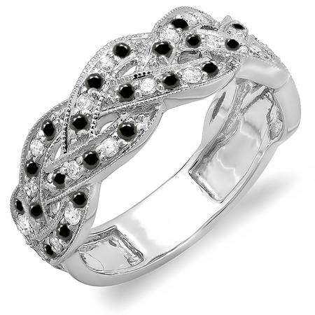 0.58 Carat (ctw) 10k White Gold Round White & Black Diamond Ladies Anniversary Wedding Matching Band Stackable Swirl Ring 1/2 CT