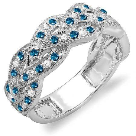 0.58 Carat (ctw) 10k White Gold Round White & Blue Diamond Ladies Anniversary Wedding Matching Band Stackable Swirl Ring 1/2 CT