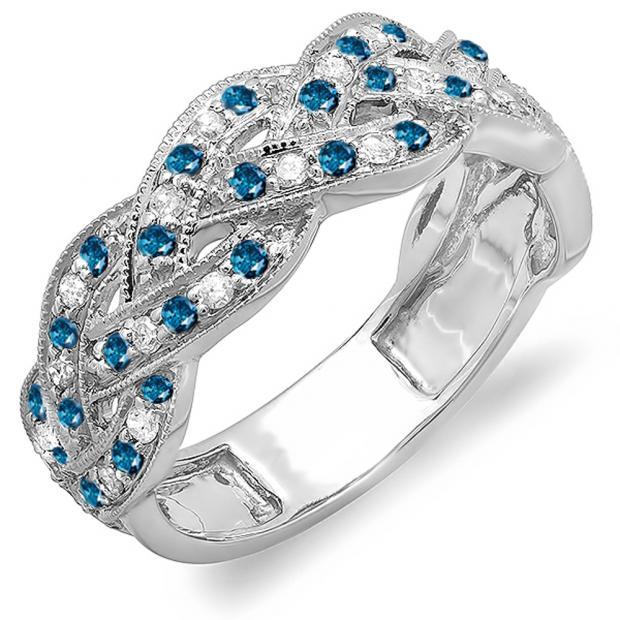 0.58 Carat (ctw) 18k White Gold Round White & Blue Diamond Ladies Anniversary Wedding Matching Band Stackable Swirl Ring 1/2 CT