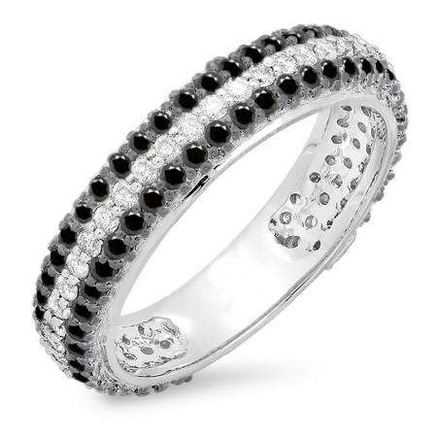 1.30 Carat (ctw) 18K White Gold Round White & Black Diamond Ladies Pave Set Anniversary Wedding Eternity Ring Band 1 1/3 CT