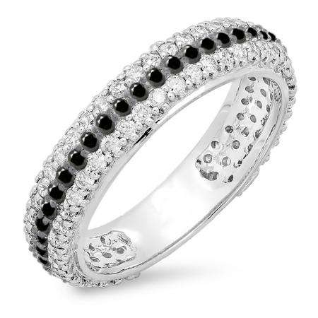 1.30 Carat (ctw) 18K White Gold Round White & Black Diamond Ladies Pave Set Anniversary Wedding Eternity Ring Band 1 1/3 CT