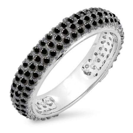 1.30 Carat (ctw) 18K White Gold Round Black Diamond Ladies Pave Set Anniversary Wedding Eternity Ring Band 1 1/3 CT