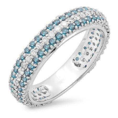 1.30 Carat (ctw) 18K White Gold Round White & Blue Diamond Ladies Pave Set Anniversary Wedding Eternity Ring Band 1 1/3 CT