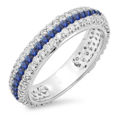 1.30 Carat (ctw) 18K White Gold Round White Diamond & Blue Sapphire Ladies Pave Set Anniversary Wedding Eternity Ring Band 1 1/3 CT