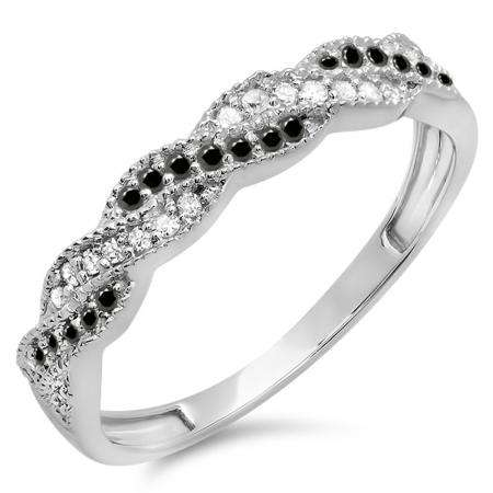0.25 Carat (ctw) 18k White Gold Round White & Black Diamond Ladies Anniversary Wedding Stackable Band Swirl Ring 1/4 CT